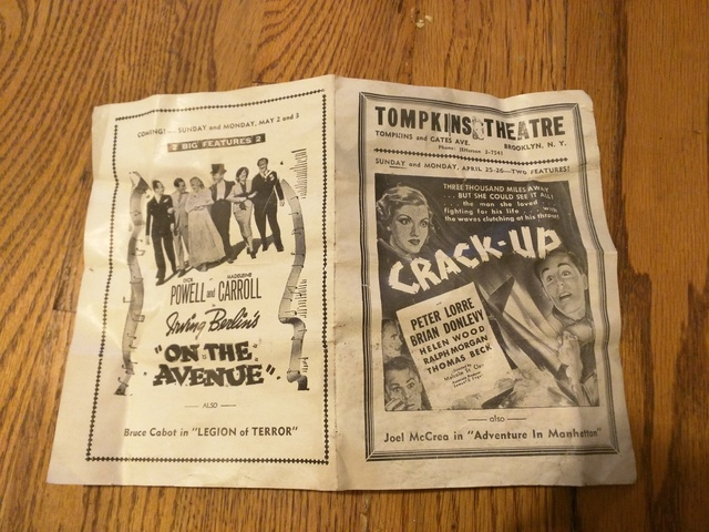 Tompkins Theater movie program from 1936