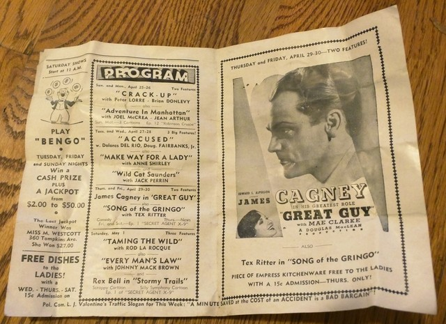 Tompkins Theater movie program from 1936 (inside)