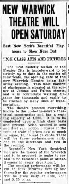 Warwick Theatre opening