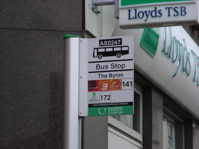 The bus stop outside the Byron Hucknall