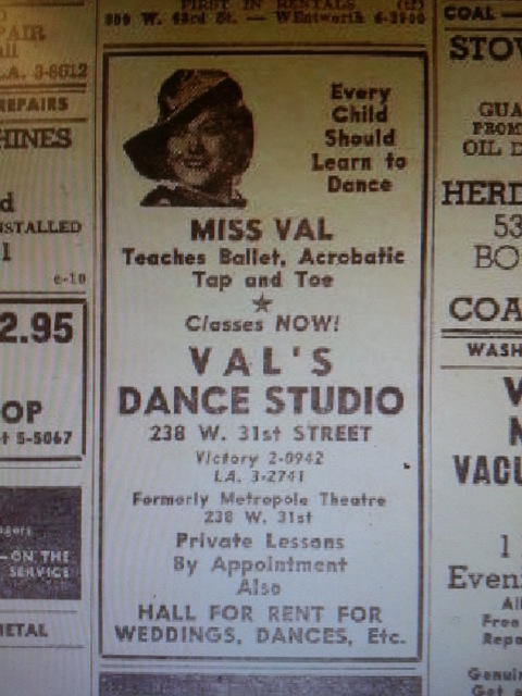Val's Dance Studio ad (old Metropole Theatre)