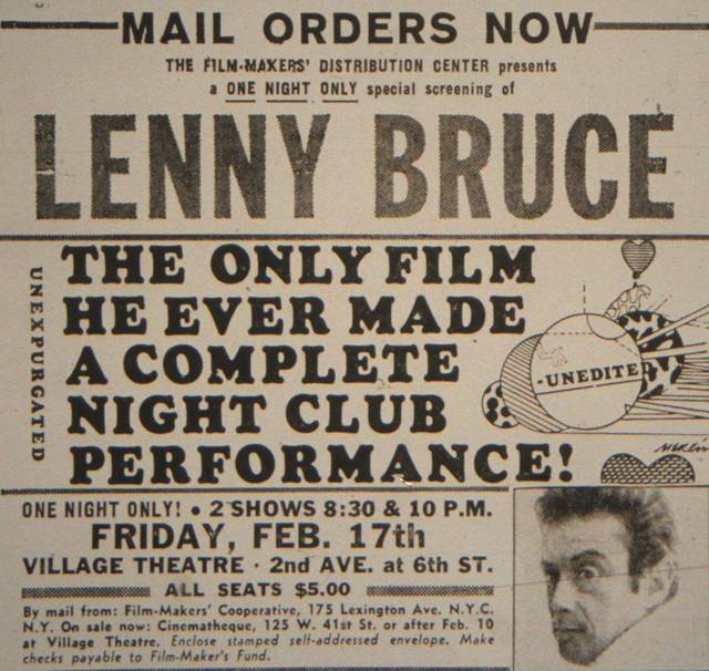 1967 Lenny Bruce film print ad courtesy of Bob Greenhouse.