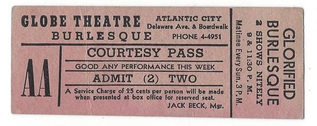 Globe Theatre Burlesque Show Ticket