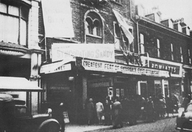 A photocopy of a photo of the St James cinema in the 1950s