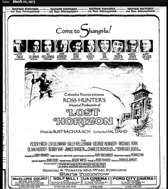 Ross Hunter's LOST HORIZON music by Burt Bacharach