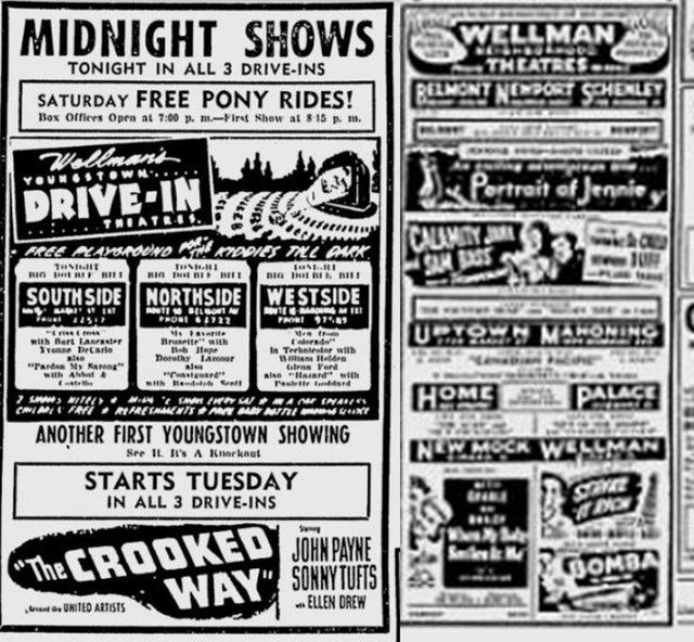 The Wellman Chain of theaters in 1949