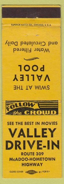 Matchbook cover advertising the Valley Drive-In and Valley Pool