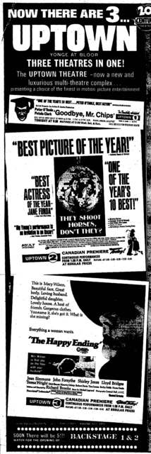 Ad for the opening of the Uptown 2 & 3 on January 30, 1970