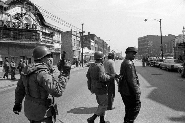 Garfield Theatre during West side riots in 1968