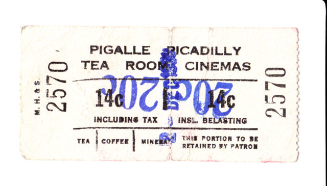 Picadilly Tea Room Cinema Ticket