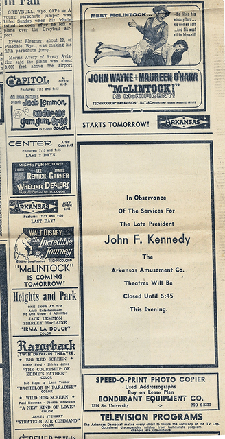 Arkansas Theatre Newspaper Ad