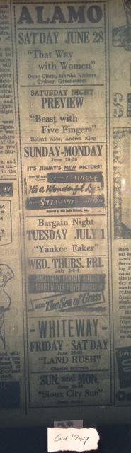 Whiteway and Alamo Theatre Ad