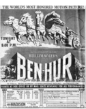 Reserved seat ticket ad for Ben Hur