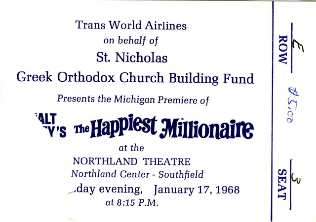 Reserved seat ticket stub for The Happiest Millionaire