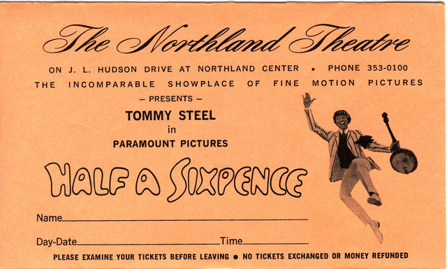 Reserved seat envelope for Half a Sixpence tickets
