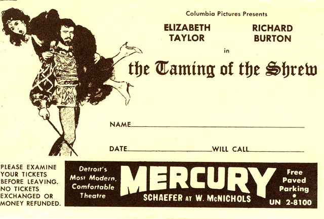 Reserved seat envelope for Taming of the Shrew tickets