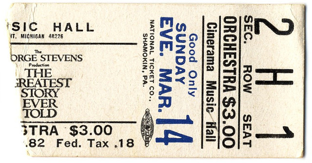reserved seat ticket stub The Greatest Story Ever Told