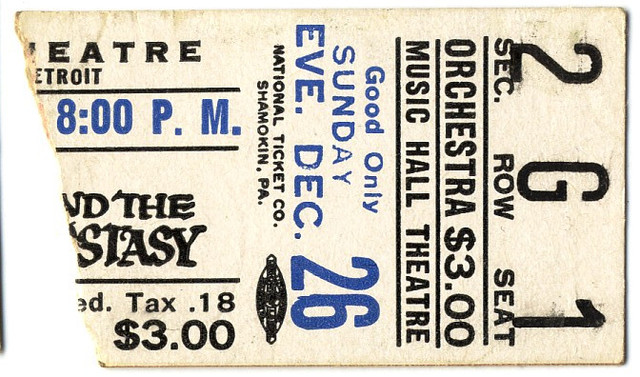 Reserved seat ticket stub for The Agony and the Ecstasy