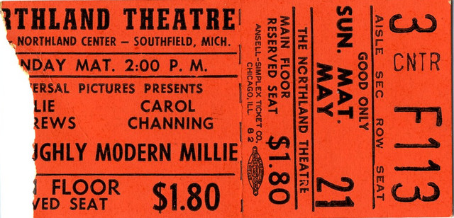 Reserved seat ticket stub for Thoroughly Modern Millie
