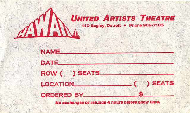 Ticket envelope for reserved seat performance of Hawaii