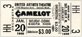Reserved seat ticket CAMELOT