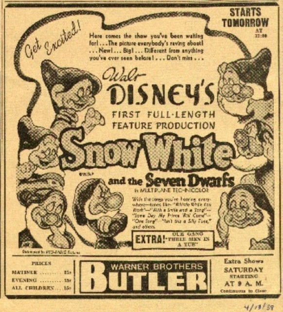 Snow White Butler Theatre Ad From The Butler Eagle