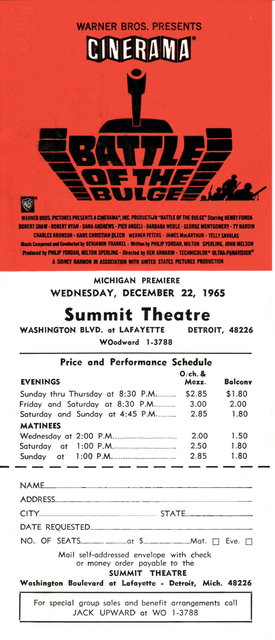 Reserved seat order form for Battle of the Bulge presented in Cinerama