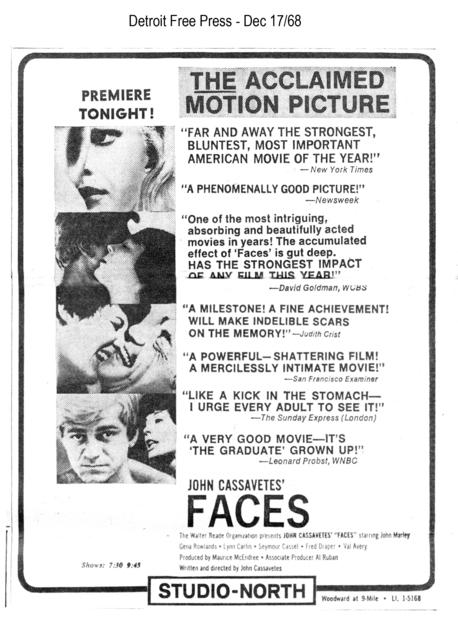 Movie ad for Faces - Studio  North