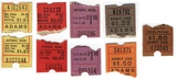 A selecction of different price ticket stubs for the Adams