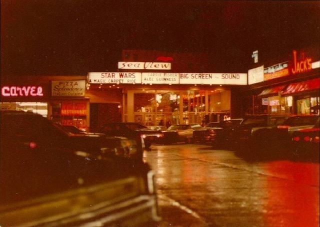 1977 photo of the Seaview Theater & nearby stores