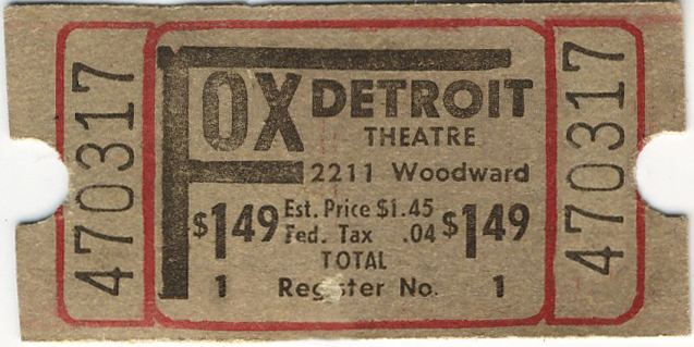 $1.49 Admission ticket for the Fox Theatre