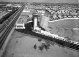 <p>Aerial view of the Century Drive-In.               There is a curved Cinerama screen in front of the regular screen. May, 1964. Photo and copy courtesy of Robert Juzefski.</p>