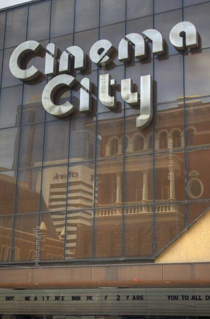 The mirrored facade of Perth's Cinema City