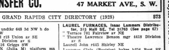 1928 Grand Rapids City Directory entry for Laurel Theater