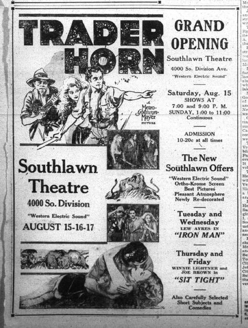 Grand Opening newspaper ad in 1931
