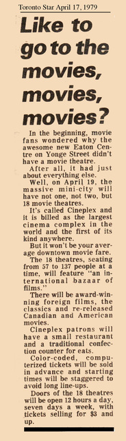 Toronto Star story on the opening of the Cineplex