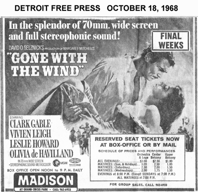 Detorit Free Press ad for Reserved seat performance of Gone With the Wind