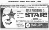 "Detroit Free Press ad for the upcoming ""STAR"" with Julie Andrews"