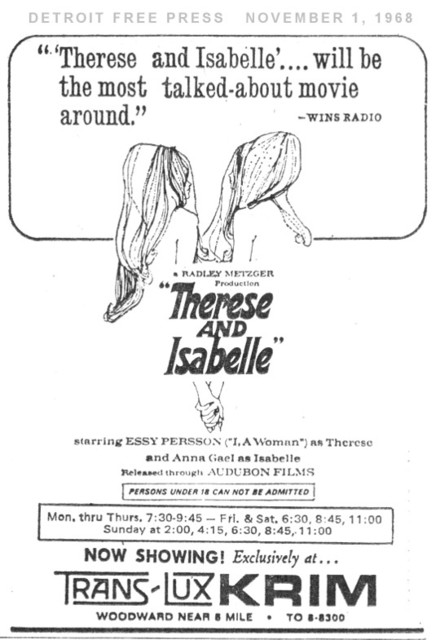 Detroit Free Press ad for Therese and Isabelle