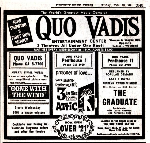Detroit Free Press ad for the Quo Vadis Theatres Feb 28/69