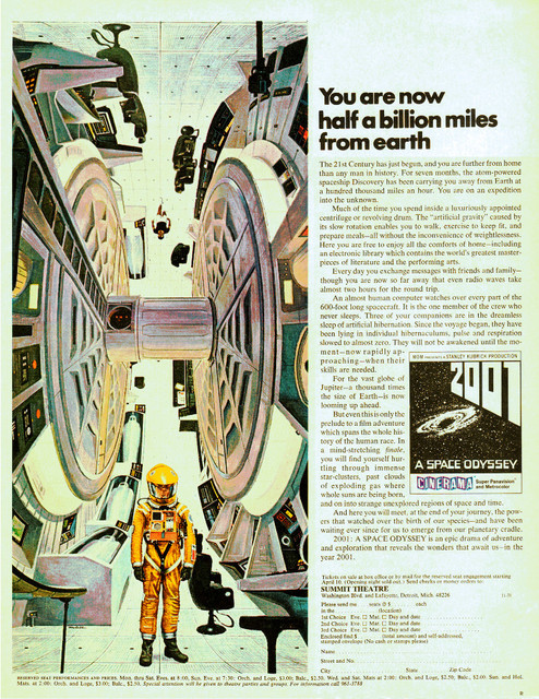 Life Magazine ad for 2001: A Space Odyssey reserved seats - Summit Theatre