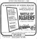 Detroit Free Press ad for Battle of Algiers - Studio 1