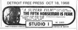 DETROIT FREE PRESS AD FOR STUDIO 1 - 5TH HORSEMAN IS FEAR