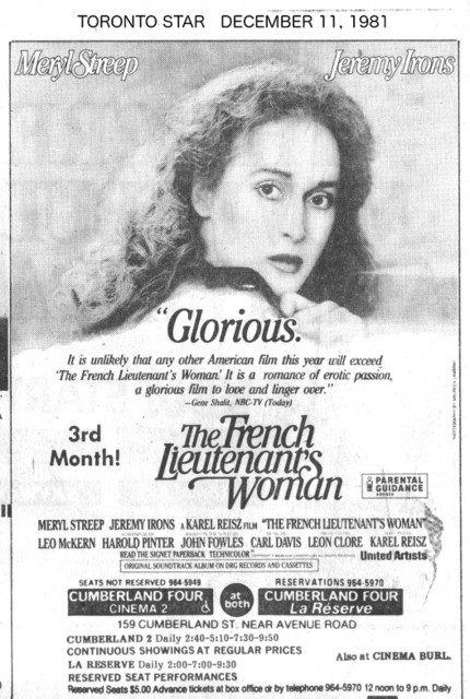 Toronto Star ad for French Lietenant's Woman