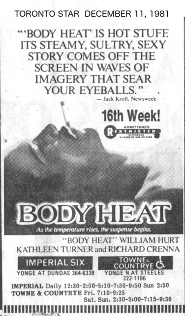 TORONTO STAR AD FOR BODY HEAT - IMPERIAL