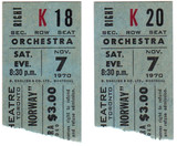 RESERVED SEAT TICKET STUBS FOR SONG OF NORWAY - GLENDALE