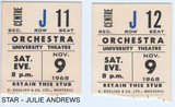 RESERVED SEAT TICKET STUBS FOR STAR - UNIVERSITY THEATRE