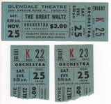 "RESERVED SEAT TICKET & STUBS ""THE GREAT WALTZ"" - GLENDALE THEATRE"