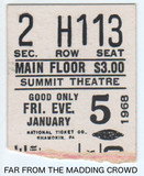 "Reserved seat ticket stub ""FAR FROM THE MADDING CROWD"" Summit Cinerama"