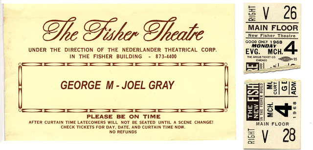 """TICKET STUBS AND ENVELOPE """"GEORGE M"""" - FISHER THEATRE"""